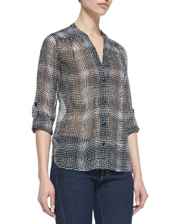 Diane von Furstenberg Harlow Optic Plaid Button-Down Blouse