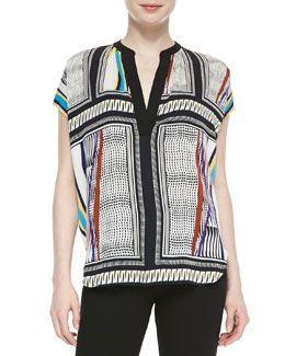 Diane von Furstenberg Alana Short-Sleeve Glass Scarf-Print Shirt