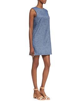 Theory Tierra Sleeveless Chambray Shift Dress