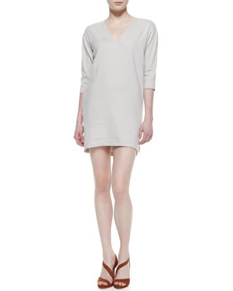 Theory Resort V-Neck Linen-Blend Half-Sleeve Dress