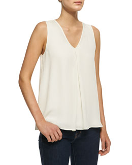 Theory Lesay Double-Georgette Sleeveless Tank