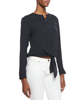 Theory Kevine Double Georgette Tie-Hem Blouse