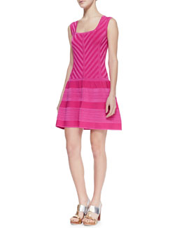 Nanette Lepore Sunrise Striped Full-Skirt Knit Dress