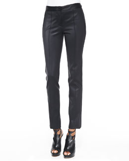 Reed Krakoff Coated Straight-Leg Stretch Pants