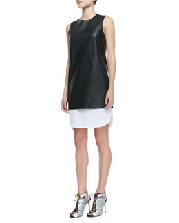 Theory Lambskin & Poplin Sleeveless Dress