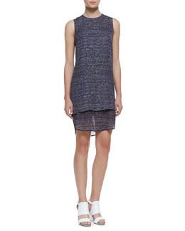 Theory Hassil Tweed-Print Layered Silk Dress