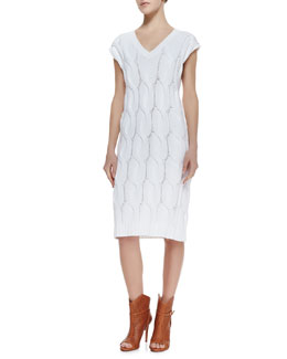 Theory Yima Kelt Knit Cap-Sleeves Dress