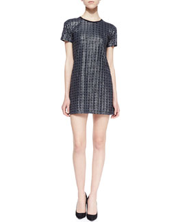Theory Ichart Waffle-Textured Twill Dress