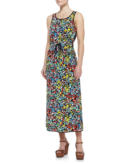 Jungle-Print Crepe de Chine Maxi Dress