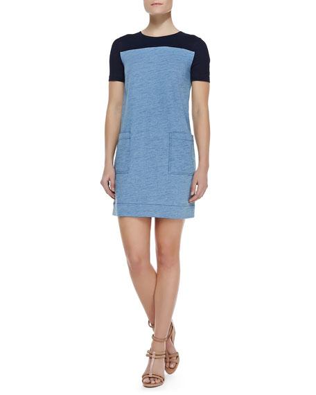 Two-Tone Jersey Knit Short-Sleeve Dress
