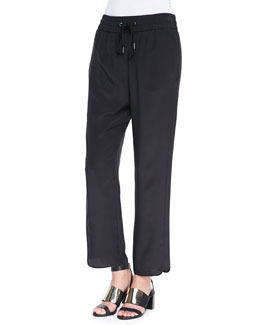MARC by Marc Jacobs Frances Crepe de Chine Track Pants, Black