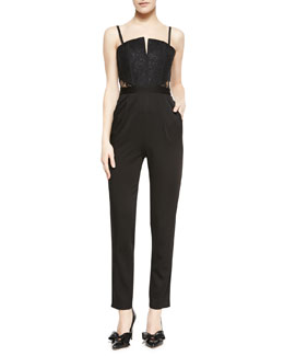 Alice + Olivia Structured Bustier Skinny-Leg Jumpsuit
