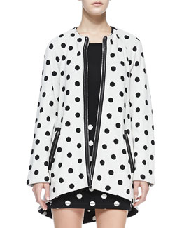 Alice + Olivia Collarless Dotted Zip Coat