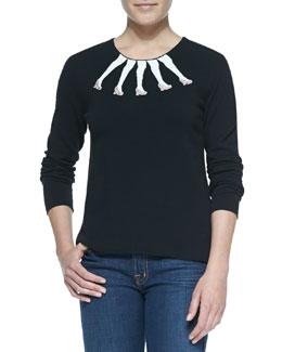 Alice + Olivia Intarsia Legs Design Crewneck Sweater