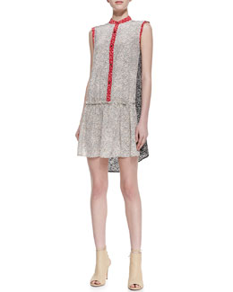 MARC by Marc Jacobs Karoo Printed Silk Crepe High-Low Shirtdress