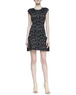 MARC by Marc Jacobs Cassidy Solid-Trim Jacquard Sweater-Knit Dress