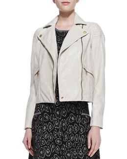 MARC by Marc Jacobs Avery Crackled Cropped Leather Jacket