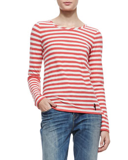 MARC by Marc Jacobs Pam Stripe-Jersey Long-Sleeve Tee