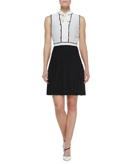 MARC by Marc Jacobs Frances Tie-Neck Pleated Colorblock Dress