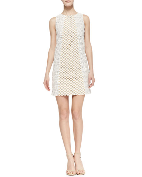 Sonoran Sleeveless Eyelet Shift Dress, Ivory