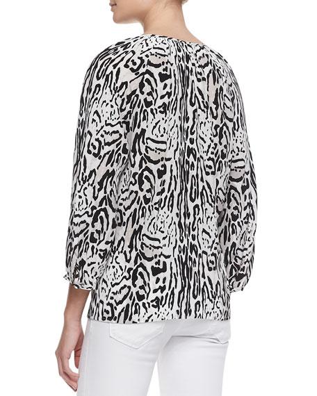 Addie 3/4-Sleeve Animal-Print Top