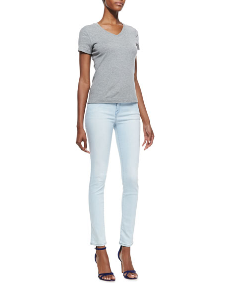 Skinny-Leg Cropped Denim Jeans, Starlight