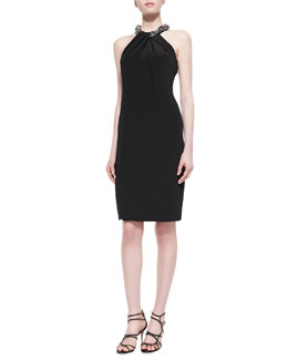 Carmen Marc Valvo Beaded-Neck Halter Cocktail Dress, Black