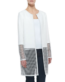 Elie Tahari Soho Mesh-Panel Coat