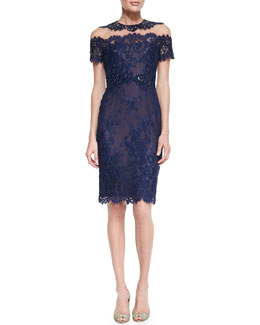 Notte by Marchesa Short-Sleeve Illusion-Neck Lace Cocktail Dress