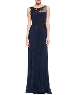 Notte by Marchesa Sleeveless Gown with Lace Top & Waist Detail