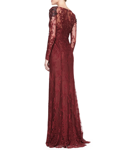 Long-Sleeve Lace Overlay Beaded-Shoulder Gown