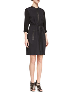 Elie Tahari Jennifer Long-Sleeve Zip Shirtdress, Black