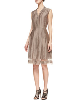 Elie Tahari Emma Sleeveless Sheer-Hem Dress, Sandstone