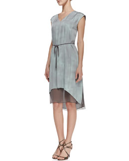 Elie Tahari Dorene Sleeveless Tie-Waist Dress, Soft Sky