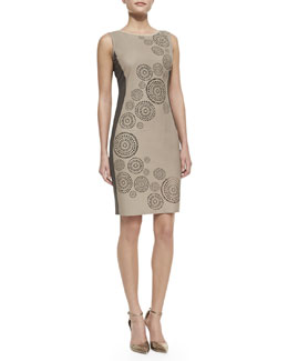 Elie Tahari Mila Leather-Front Circular Cutouts Dress, Sandstone