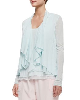 Elie Tahari Farrell Long-Sleeve Draped Ruffle-Front Blouse, Soft Sky
