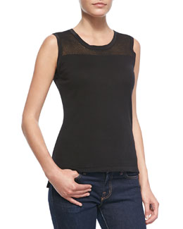 Elie Tahari Kemper Sleeveless Top with Knitted Insert at Neck