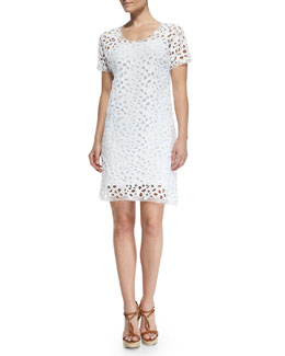 Elie Tahari Maissa Short-Sleeve Bramble Lace Dress