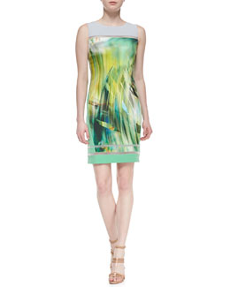 Elie Tahari Tula Sleeveless Tropical-Print Sheath Dress