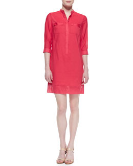 Elie Tahari Austin 3/4-Sleeve Eyelet Shirtdress
