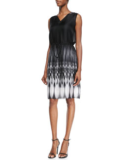 Elie Tahari Rema Sleeveless Ombre Ikat-Print Dress