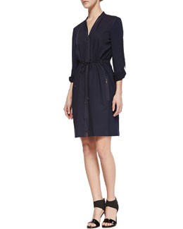 Elie Tahari Martina Long-Sleeve Zip Shirtdress, Midnight Blue