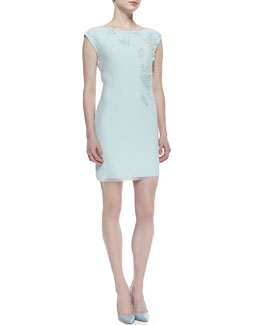 Elie Tahari Logan Cap-Sleeve Applique Dress