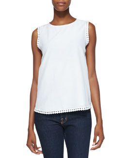 Diane von Furstenberg Jessa Sleeveless Decorative-Trim Top