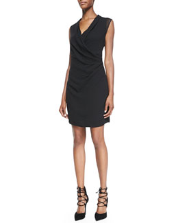 Elie Tahari Kinsley Mesh-Sleeve Draped Dress