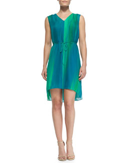 Elie Tahari Dorene Sleeveless High-Low Silk Dress
