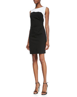 Elie Tahari Dilana Sleeveless Contrast Sheath Dress