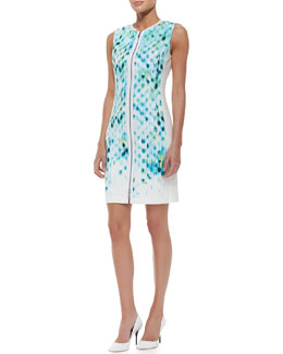 Elie Tahari Mila Sleeveless Primavera-Print Cotton Sheath Dress