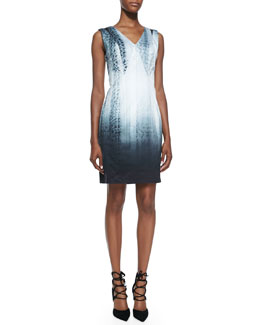 Elie Tahari Arvis Sleeveless Python-Print Dress