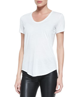 Helmut Lang Kinetic Short-Sleeve Scoop-Neck Tee, Optic White